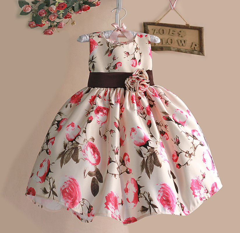 b9cc492a8 New Girls Party Dress Rose Floral Tribute Silk Kids Dresses for ...