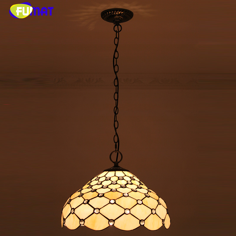 FUMAT Yellow Lamp Shade Pendant Lamp European Vintage Stained glass Warm Kitchen Lights Bar Living Room LED Pendant Lights fumat stained glass pendant lights small hanging glass lamp for bedroom living room kitchen creative art led pendant lights