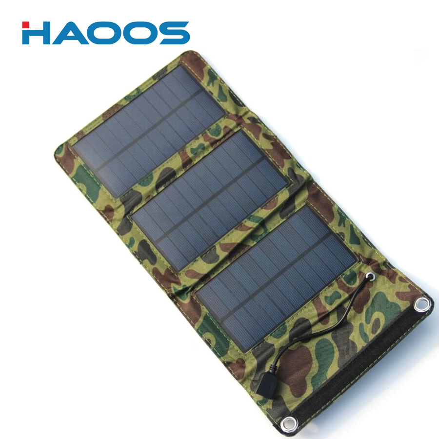 HAOOS 5W Solar Charger USB Port Waterproof Foldable Solar Panel Sun Power For Smartphone USB Devices