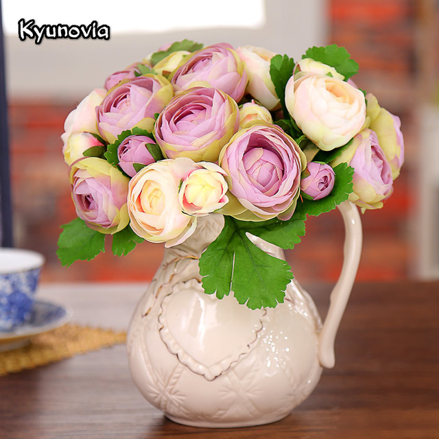 Kyunovia Silk Peony Wedding Flowers 5 Heads Artificial Peonies Bridal Bouquet DIY Centerpieces Decorative