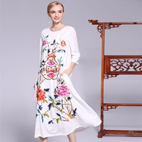 New Plus Size Women S Clothing Dress Spring 2018 Lux Embroidery Floral Vintage Brand National Style