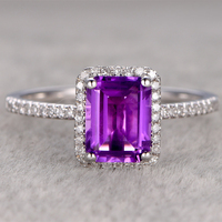 Amethyst Engagement Ring 14K White Gold Band 6x8mm Emerald Cut Purple Stone Promise Ring Bridal Ring