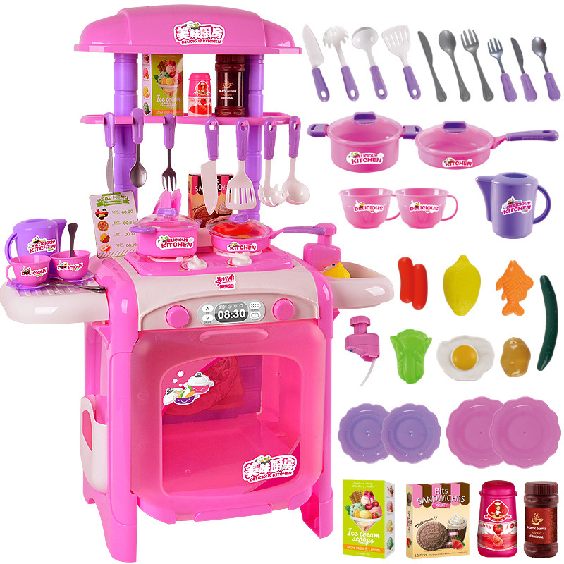 Bessie delicious play every toy kitchen cut fruit cake trolley girl cooking real water