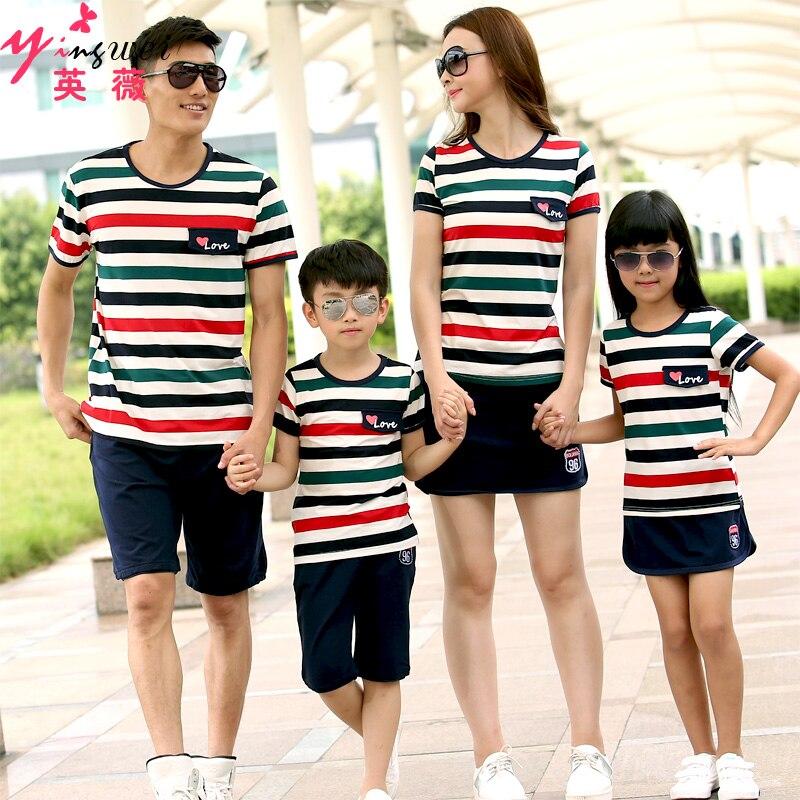 2016 Family fashion Summer Couple Clothes stripe set ...