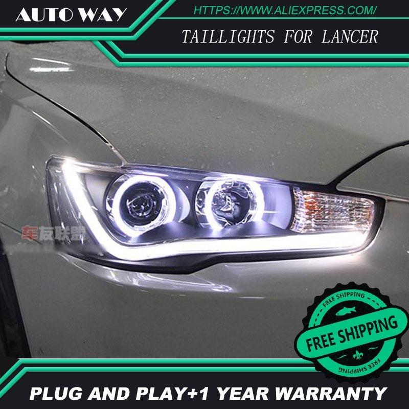 Free shipping ! Car styling LED HID Rio LED headlights Head Lamp case for Mitsubishi Lancer Bi-Xenon Lens low beam