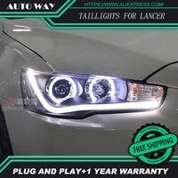 Free Shipping Car Styling LED HID Rio LED Headlights Head Lamp Case For Mitsubishi Lancer Bi