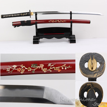 Handmade Japanese Katana Fold Steel Real Hamon Clay Tempered Full Tang Wine Red Scabbard With Shell Sharpness Ready