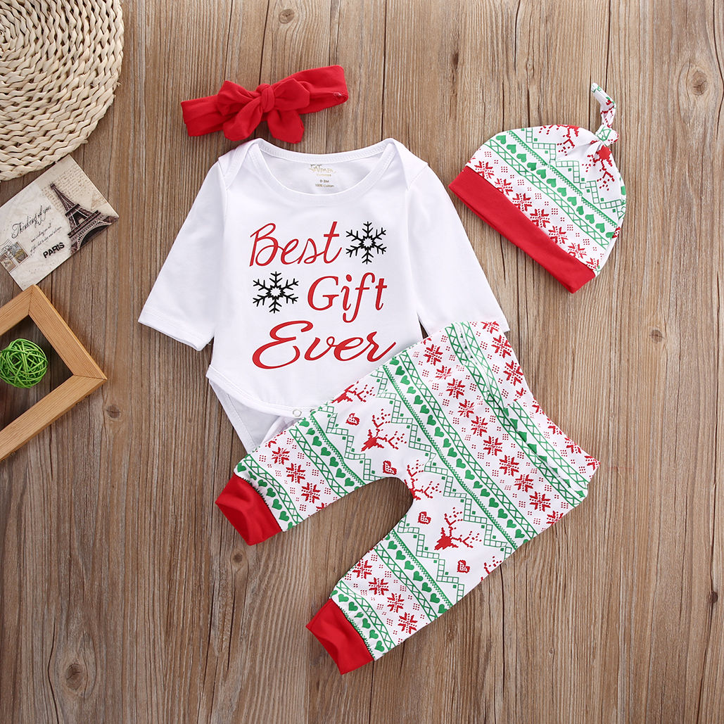 2016 New Baby Boy Girl Christmas Outfit Set Best Gift Romper Tops Floral Printing Pants Legging Casual Hat Handband Clothes Set