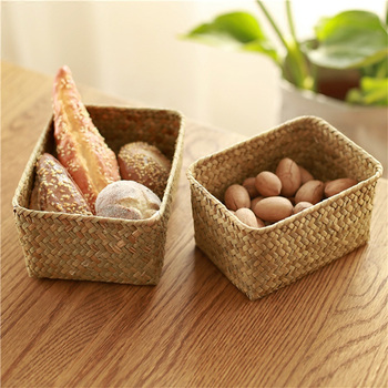 Straw Weaving Picnic Storage Wicker Basket For Toys Fruit Food Bathroom Desk Kitchen Neatening Sundries Organizer Panier Osier 1