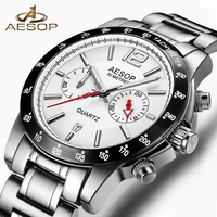 AESOP Brand Watch Men Quartz Wristwatch Auto Date Stainless Steel Waterproof Fashion Male Clock Relogio Masculino