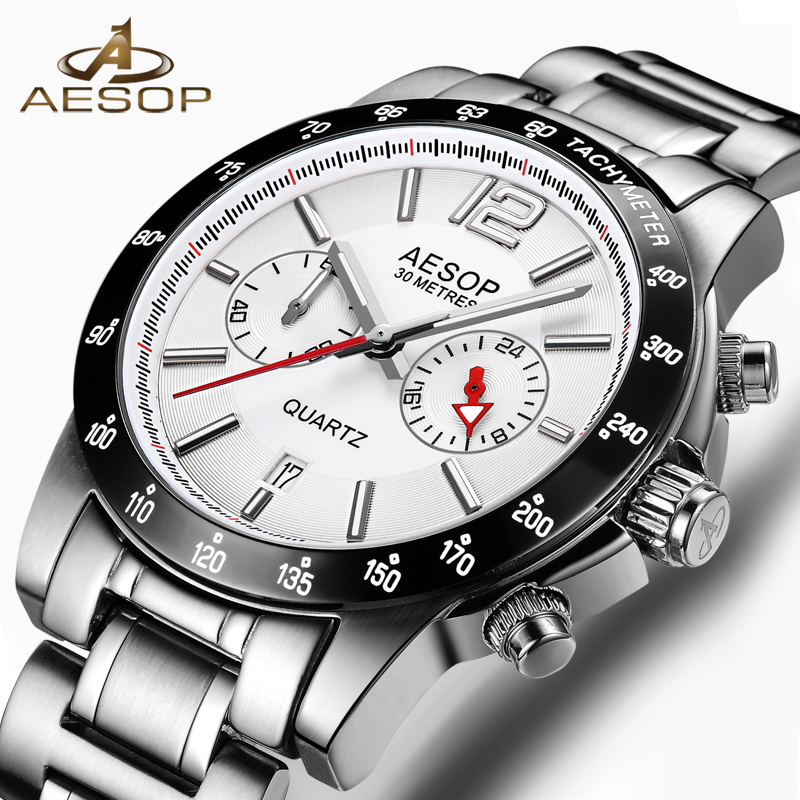 AESOP Brand Watch Men Quartz Wristwatch Auto Date Stainless Steel Waterproof Fashion Male Clock Relogio Masculino Hodinky New 46 aidis brand dual display wristwatch sport men s waterproof digital watch stainless steel fashion quartz clock relogio masculino