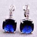 2017 New Noble Blue  Dangle Hook  Silver Earrings Fashion Jewelry For Women Wholesale Free Shipping