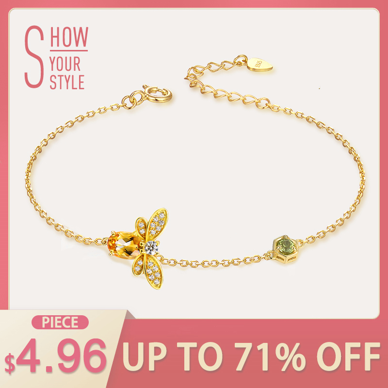 Bee Natural Oval Citrine Sterling Silver Jewelry Gold Chain Charm Bracelet
