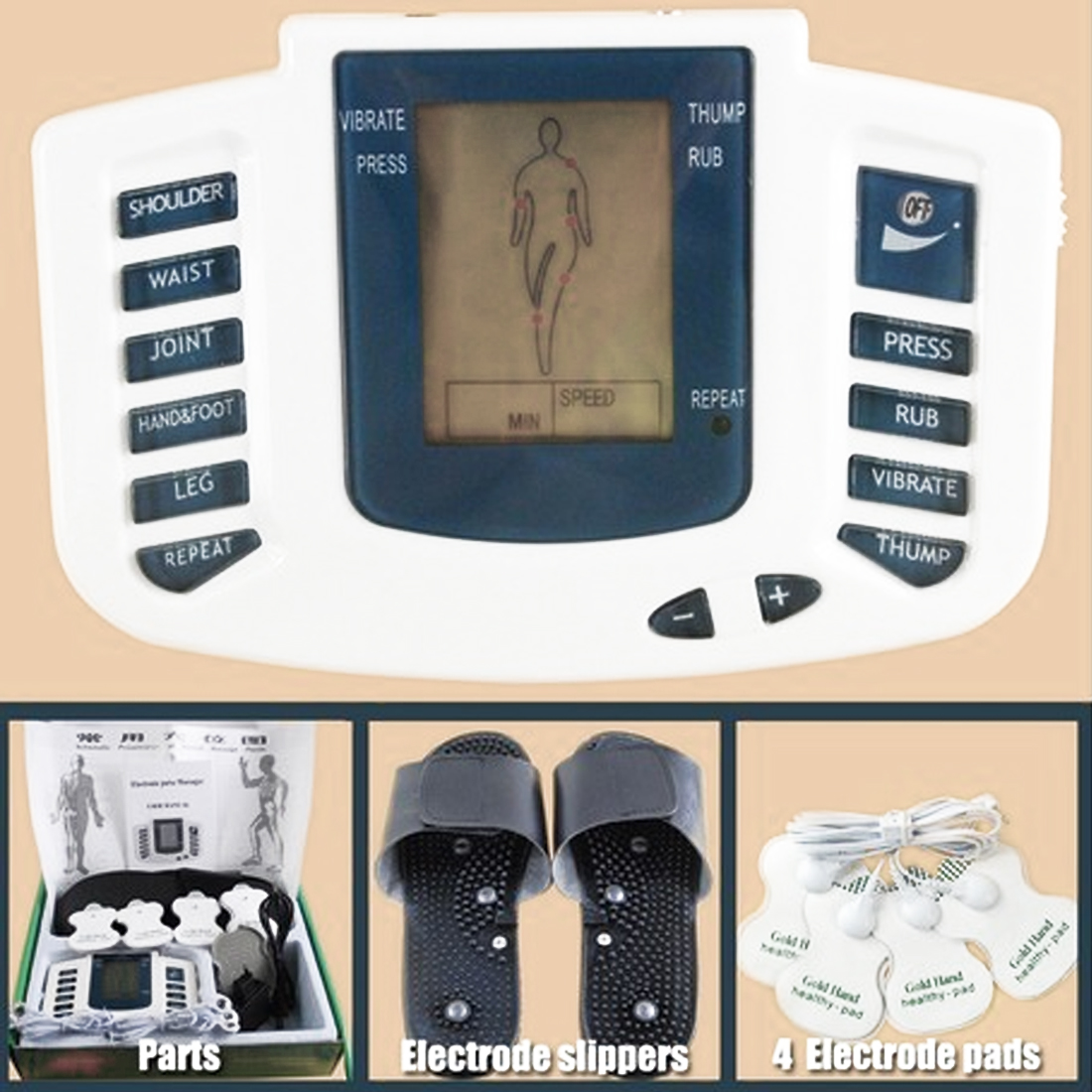 High Quality Electrical Muscle Stimulator Body Relax Muscle Massager Pulse Tens Acupuncture Therapy Slipper+8 Pads+box electrical stimulator muscle massager slipper electrode pads body relax pulse tens acupuncture therapy digital machine