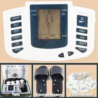 Músculo Estimulador elétrico Corpo Relaxar Massageador Muscular Pulso Dezenas Acupuntura Terapia de Chinelo + 8 Almofadas + box