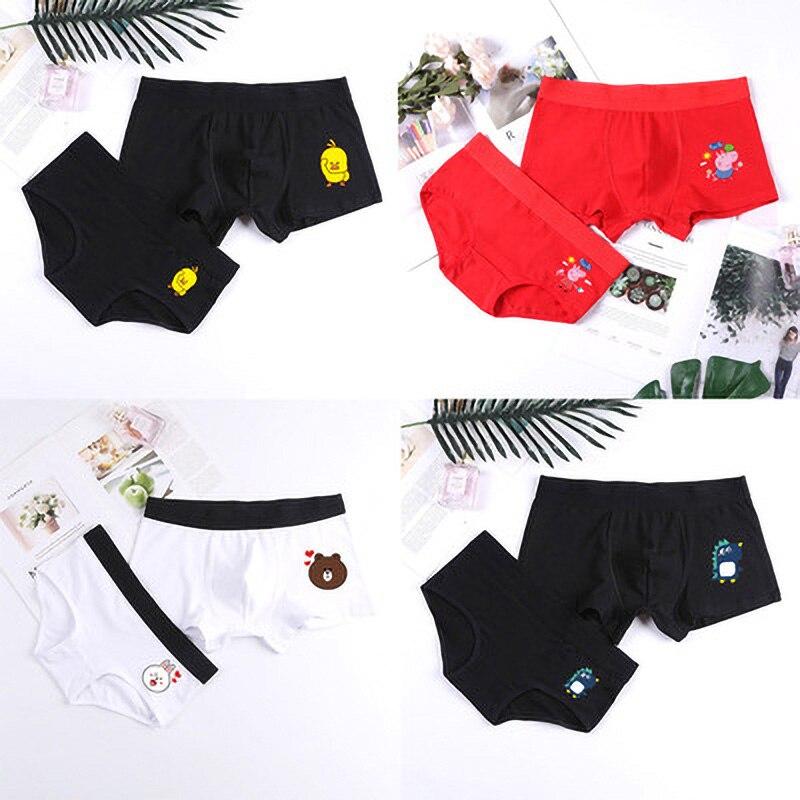Cartoon Couple Panties Printing Breathable Comfortable Panties Men Boxer Women's Underpants For Love's Underwear