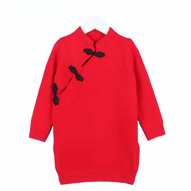 2017 Family Look Mother Daughter Dresses Christmas Red Sweater Dress Mother and Daughter Clothes Chinese Dress