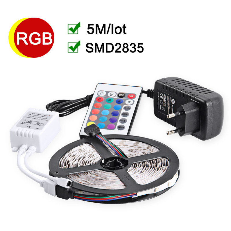 RGB LED Strip 5M 60Leds / m Fleksibel LED-lampe 2835 SMD DC12V 2A Strømadapter IR Fjernbetjening Holiday Decor RGB Lamper