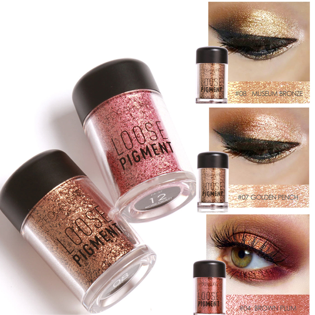 2017 New Makeup Loose Pigment Shadows Eye Mineral Powder Gold Red