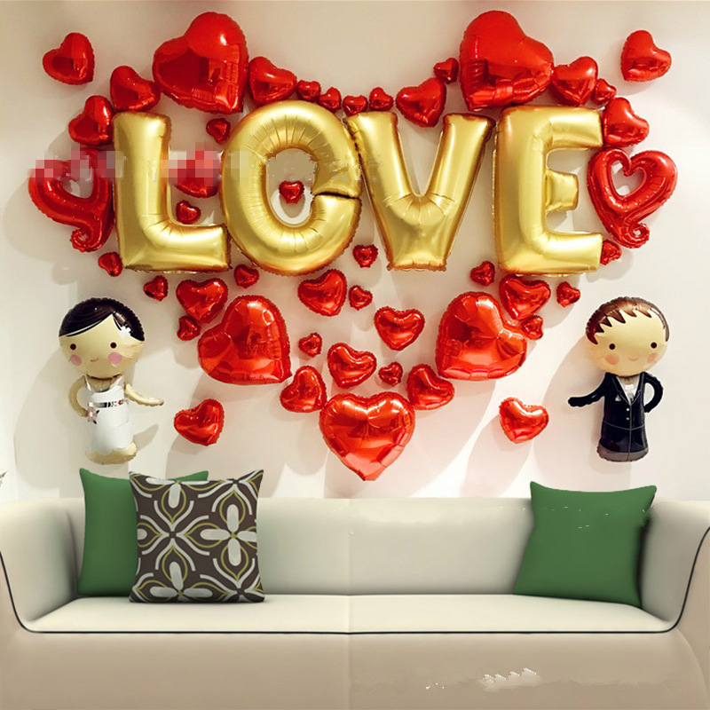 53pcs Set Sweety Love Foil Balloons Wedding Room Layout Marriage Decoration Heart Shape Balloons Wedding Party Wall Decorative Foil Balloons Foil Balloons Weddingshape Balloon Aliexpress
