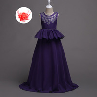 Children Designer Clothing Crystal Beaded Wedding Party Girl Formal Kids Ball Gown Dresses for 5 To 12 13 14 15 16 Year Olds