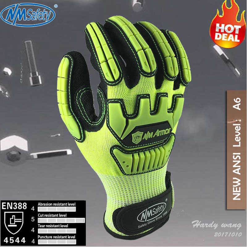NMSafety Fluorescent Yellow Nylon Shock Absorbing Mechanics Safety Glove Anti Vibration Oil and Gas Impact Resistant Work Glove water absorbing oil absorbing cleaning cloth