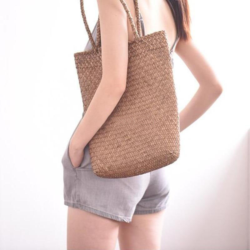 FGGS-Women Handbag Summer Beach Bag Rattan Woven Handmade Knitted Straw Large Capacity Totes Women Shoulder Bag Bohemia New 9