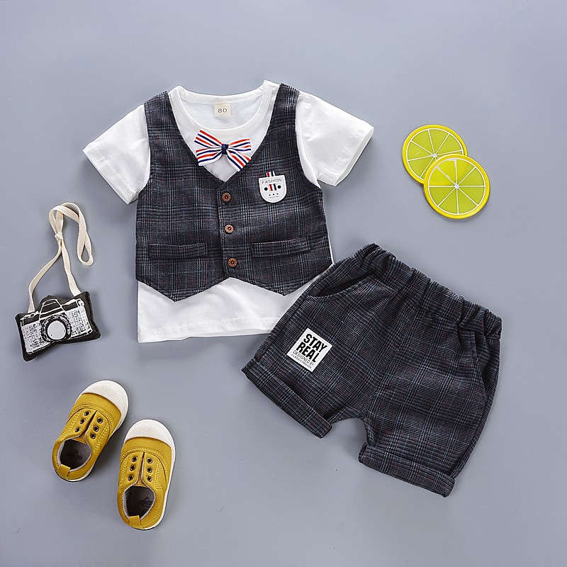 Hot Sale Summer Childrens Clothing Baby Boys Vest Three-Piece Childrens Short-Sleeved + Vest + Shorts Clothing Set Newborn