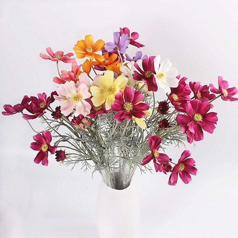 JAWOWN 인공 국화 꽃 웨딩 가정용 실크 꽃 생일 파티 장식 Flores 액세서리