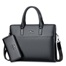 Business Casual Men Briefcase 14 inch Laptop Bag Handbag PU Leather High Quality Man Shoulder Bag Fashion Travel Male Tote(China)