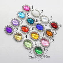 Wholesale 10Pc 16 21mm oval rhinestone Button metal tray cap setting Wedding  inviations decorate hair flower center scrapbooking 5ff93043a02f