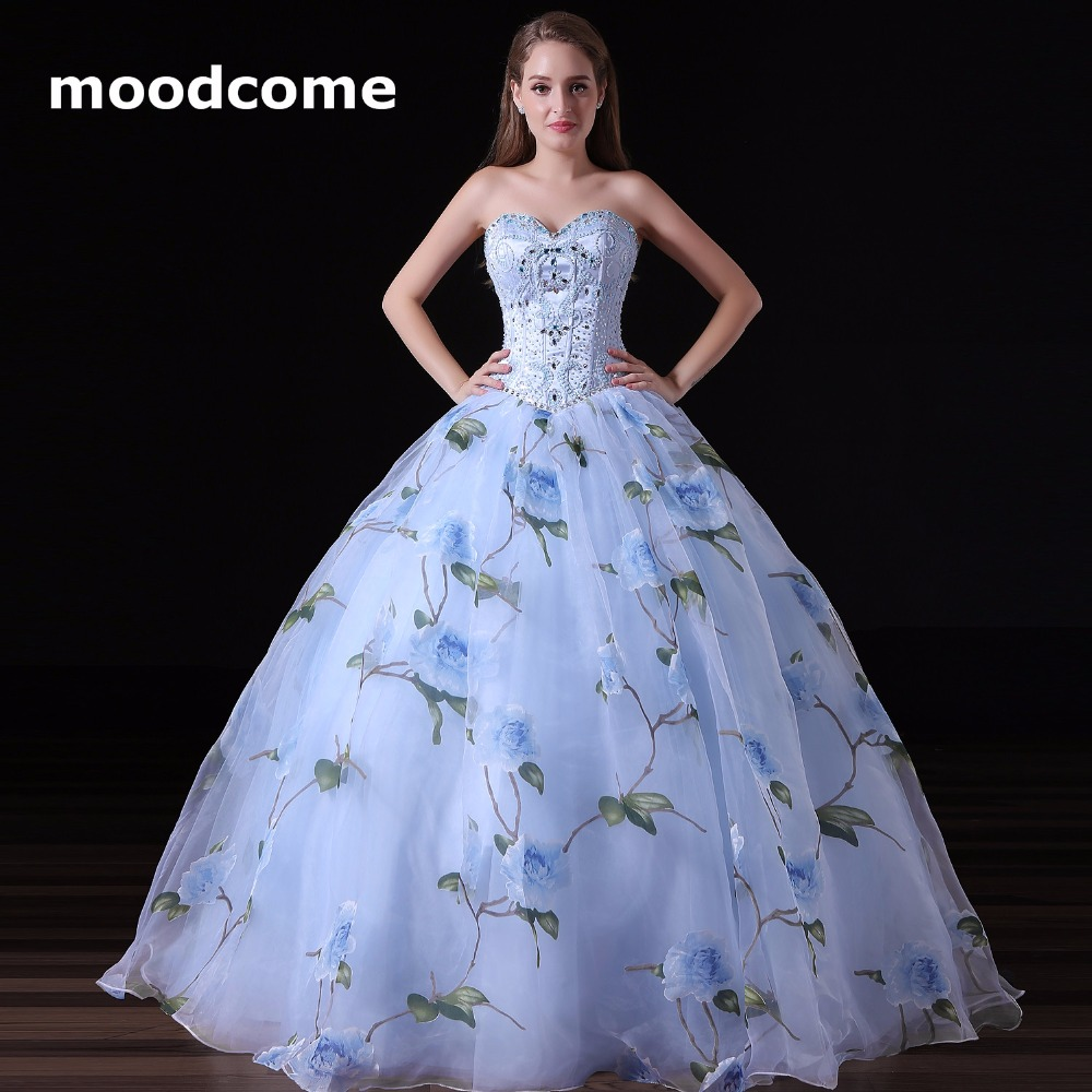 Cheap Plus Size Ball Gown Wedding Dresses: 2018 Floral Print Prom Dresses Cheap Ball Gown Organza