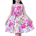 2016 Venda Quente Novo Vestido de Verão Meninas Coreanas Vestido de Chita fino de Algodão vestido de Princesa Lindo Vestido de Cintura Arco de Roupas infantis 6 cor