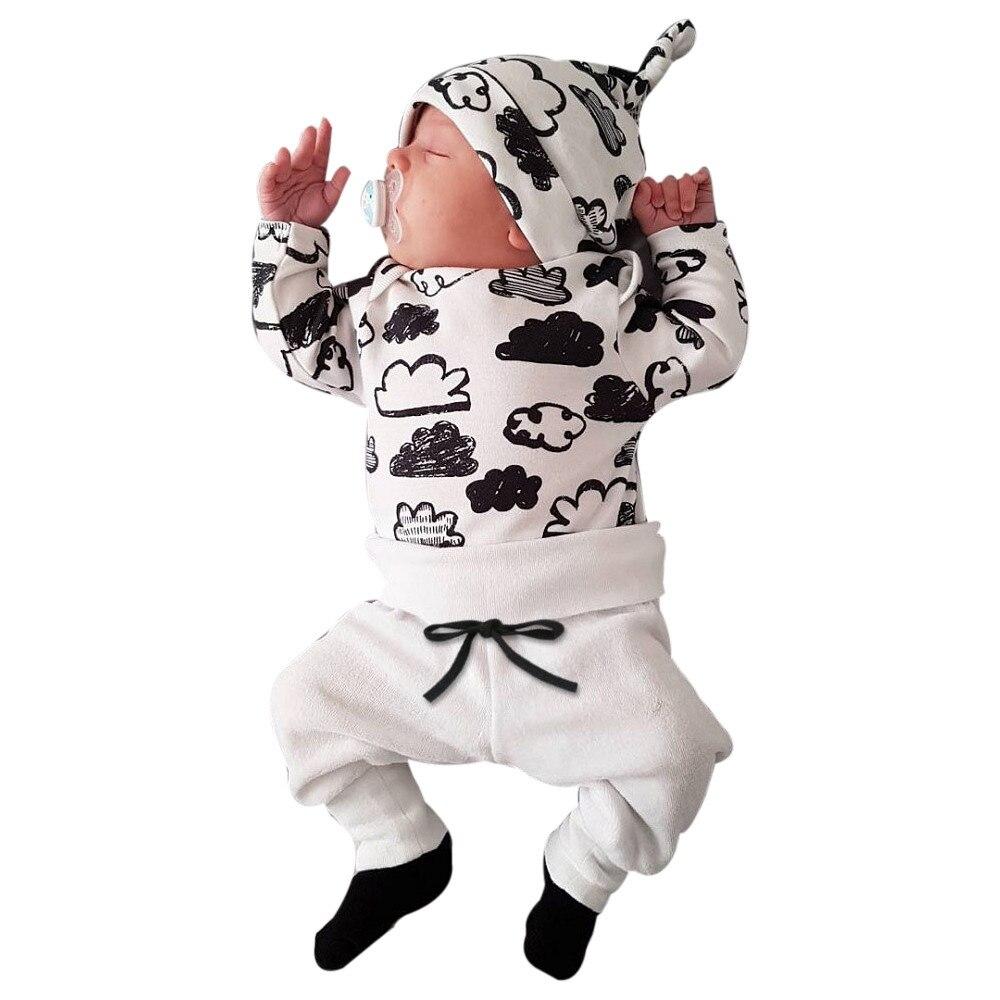 Conjuntos Meninos Roupas de Verão do bebê de Algodão Crianças Conjuntos de Roupas Para Crianças de Impressão Em Nuvem Camiseta Tops Calças roupa de bebe outfits k409