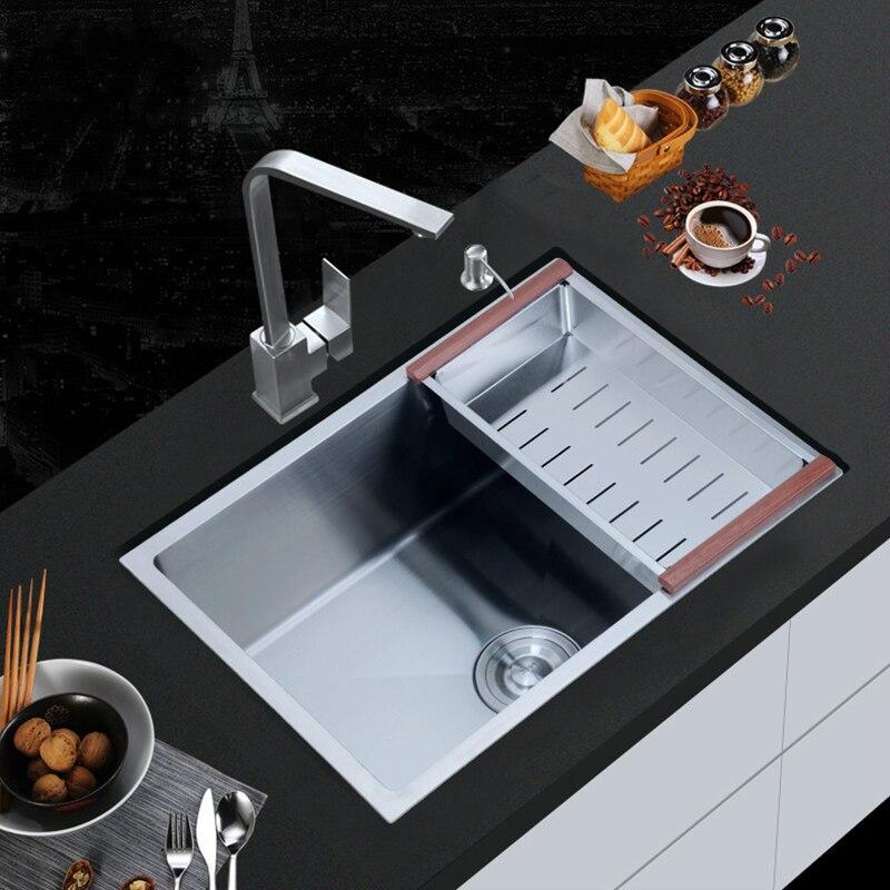 30-inch 9 Gauge Undermount Single Bowl Stainless Steel Kitchen Sink,brushed Silver Kitchen Sink Basket With Drain Strainer