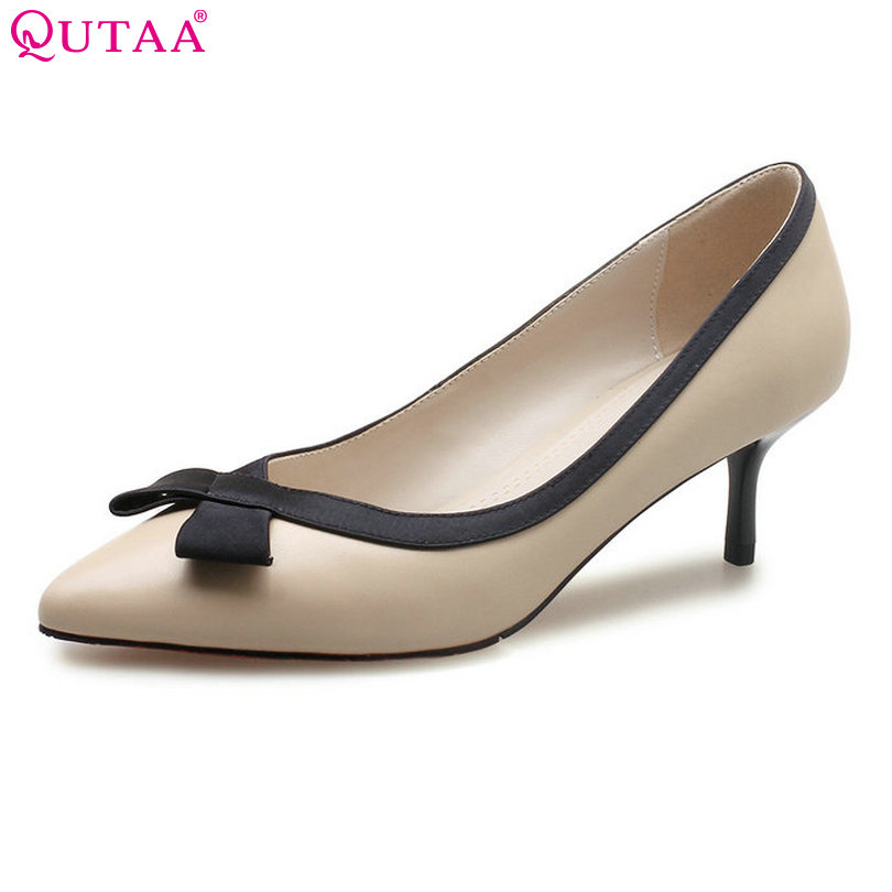 QUTAA 2018 Women Pumps Sheepskin Thin High Heel Woman Shoes Pointed Toe Elegant Butterfly-Knot Ladies Wedding Shoes Size 34-39 nesimoo 2018 women pumps pointed toe thin high heel genuine leather butterfly knot ladies wedding shoes slip on size 34 39