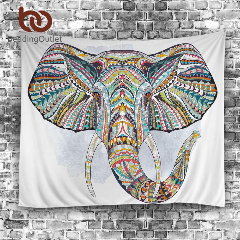 BeddingOutlet Elefanten Wandteppich Hängen Tier Wand Teppich Twin Hippie Tapisserie Böhmischen Hippie Wohnkultur Bettdecke Blatt