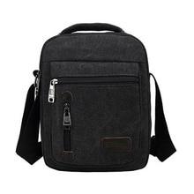 Men Canvas Messenger Shoulder Bags Clutch Handle Vintage Multi-function Crossbody Mini Handbags Travel Bags