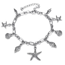 Fashion Conch Shell Starfish Alloy Pendant Anklets for Women Bohemian Summer Beach Silver Color Chain Ankle Bracelets Jewelry
