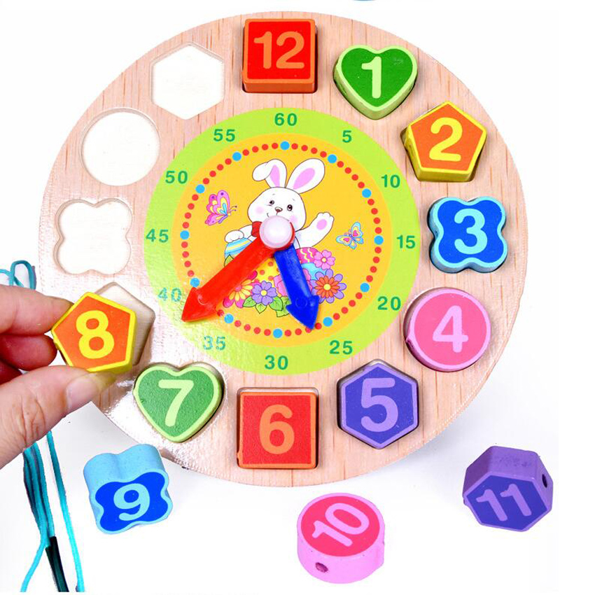 Building Blocks Toy Colorful Shape Of Wooden Clock Digital Geometry Clock For Children Baby Kid Education Toys Gifts BM8 colorful pineapple ru bun lock children puzzle toy building blocks
