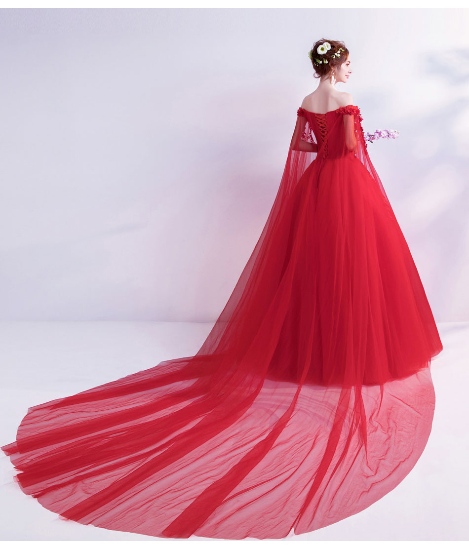 Image 2 - Walk Beside You Red Evening Dresses Off Shoulder Flower Lace Applique Sequined Prom Gowns Chapel Train Vestidos Largos De Noche-in Evening Dresses from Weddings & Events