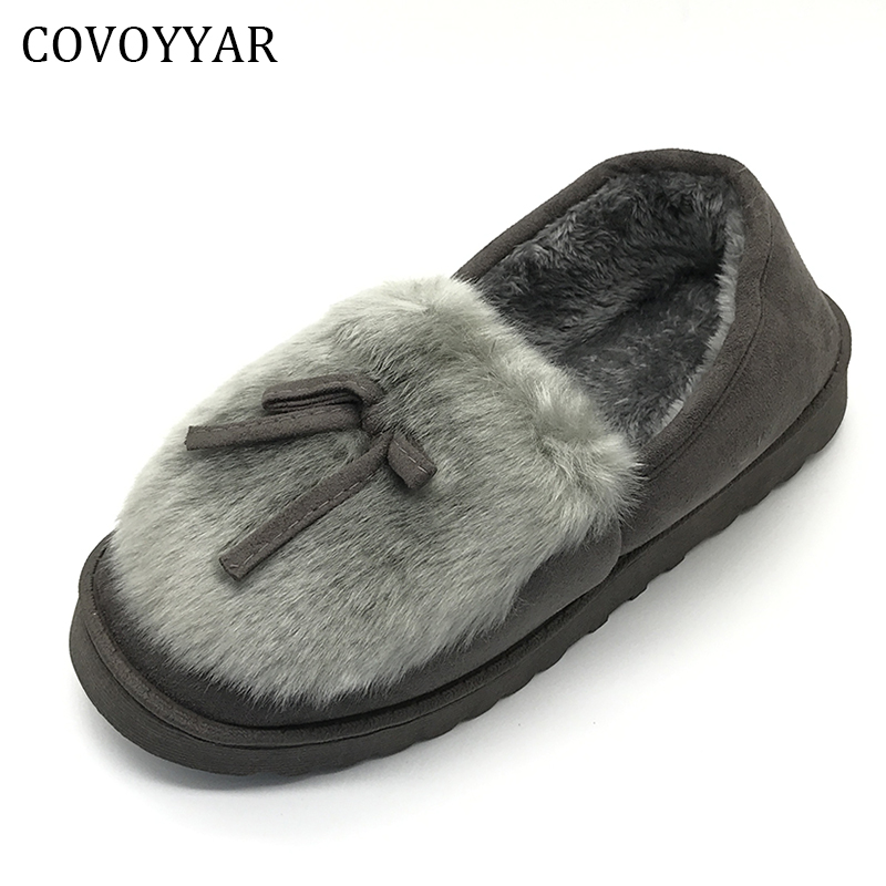 MISSC 2016 Autumn Winter Women Ballet Flats Lovely Bow Warm Fur Comfort Cotton Shoes Woman Loafers