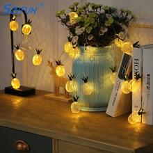 Szvfun piña Led cadena luces batería 20 LED cadena guirnalda Vintage dorado para fiesta decoración navideña 220 V Lichterkette