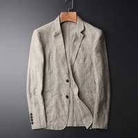 MINGLU Blazer Man New 55% Linen 45% Cotton Suit Jacket Spring Autumn Casual Male Single Breasted High Quality Size M 4XL #X1617