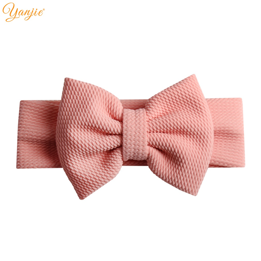 Chic Solid Elastic Headband For Girls 2019 New Spring 5'' Hair Bows Textured Headwrap Hair Bands Kids Hair Accessories