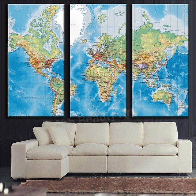 3 panels english world map hd print canvas print painting canvas art 3 panels english world map hd print canvas print painting canvas art wall pictures for living gumiabroncs Image collections