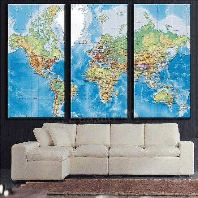 3 panneaux anglais carte du monde hd impression toile for Acheteur maison du monde