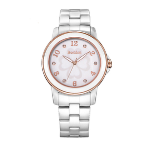 Image 5 - นาฬิกาแฟชั่นผู้หญิงนาฬิกาข้อมือเพชรเล็บดอกไม้หญิงสีขาวเซรามิคควอตซ์นาฬิกากันน้ำ Relojes 2018 B6