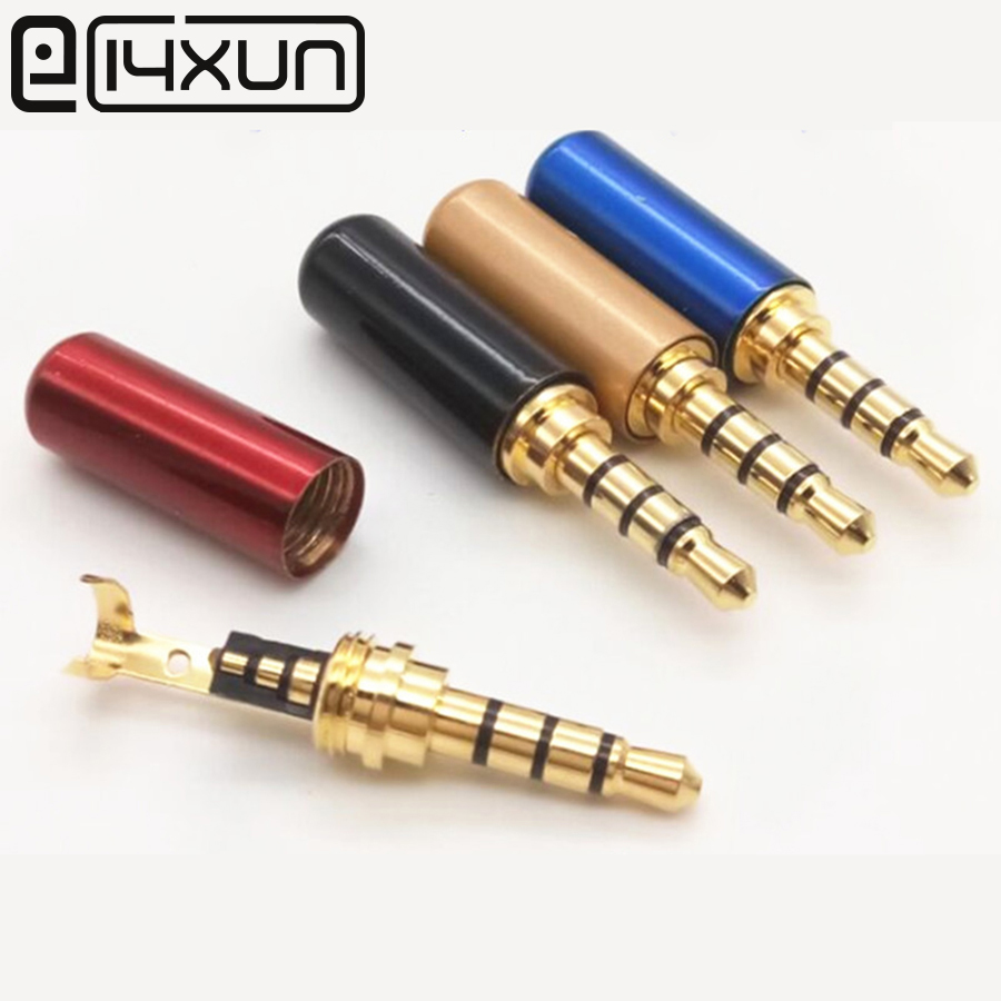 2pcs Copper 3/4 Pole 3.5mm Plug Male Headphone Jack With Clip 3.5 Mm Stereo Audio Connector For 4mm Cable Adapter