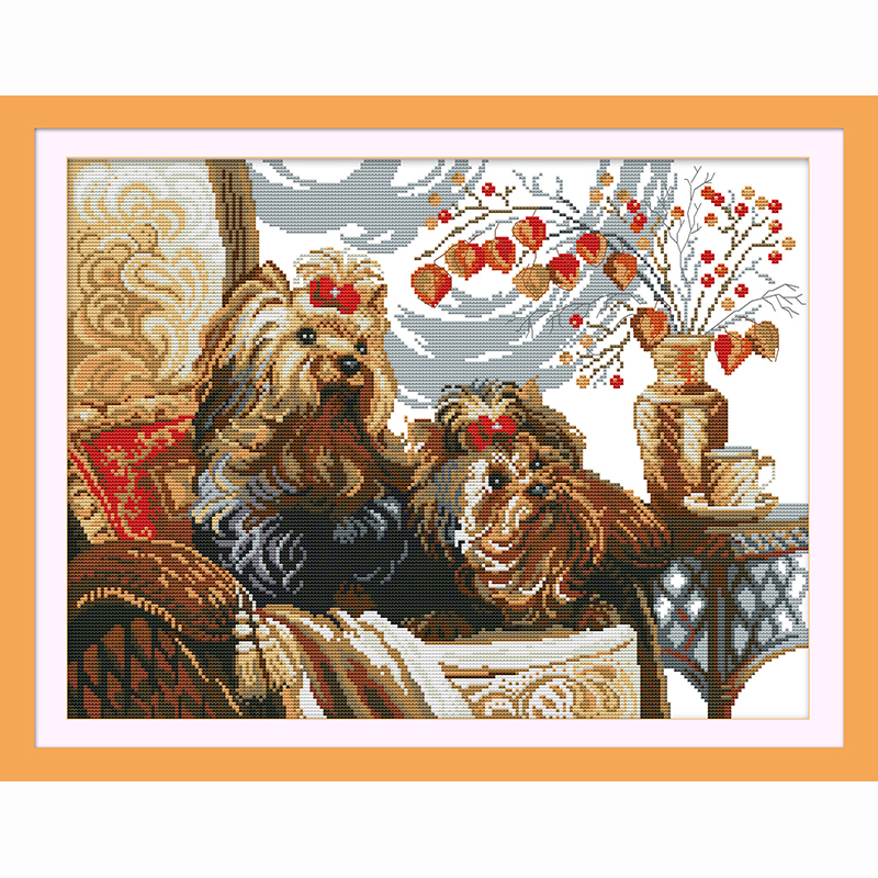Methodical Two Dogs Diy Cross Stitch Embroidery Kit Home Decor Arts Package Crafts & Sewing Cross Stitch Counted Cross Stitch Kit 14ct 11ct Animal